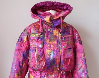 Retro Ski Snow Jacket Size Medium, Goldwin, 80's 90's Loud Blogger, Button Funnel Neck, Hooded, Bad Taste Festival Colourful,