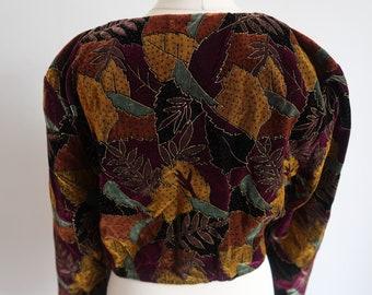 Vintage Bolero Shrug, UK Size 16, ETAM, Cropped Cardigan, Autumnal, Leaf Etch, Velvet, b38