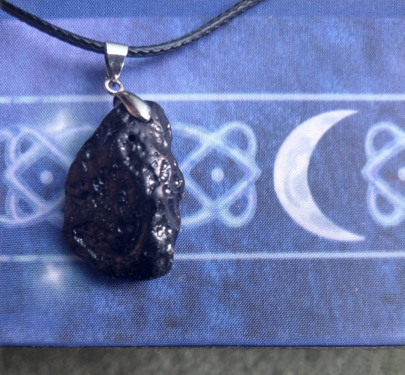 Raw Tektite Pendant Gift for Men small rough stone necklace 1.1/'/'