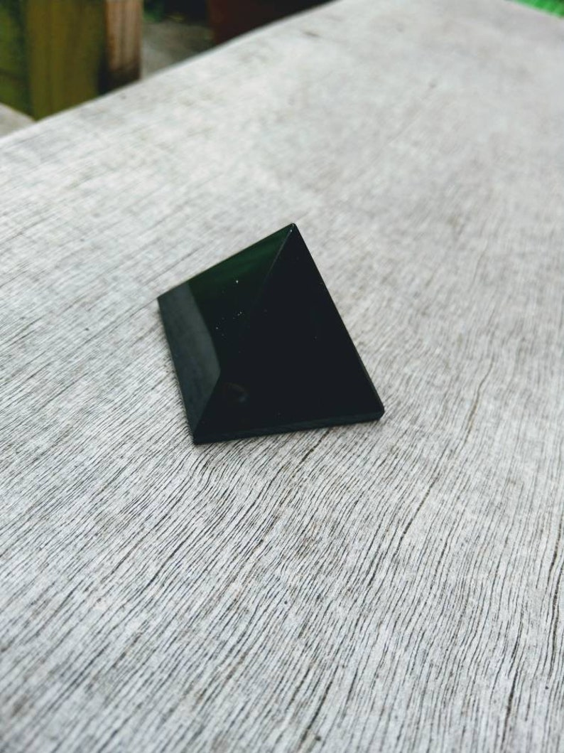 Black Obsidian pyramid protection crystal healing approx 40mm