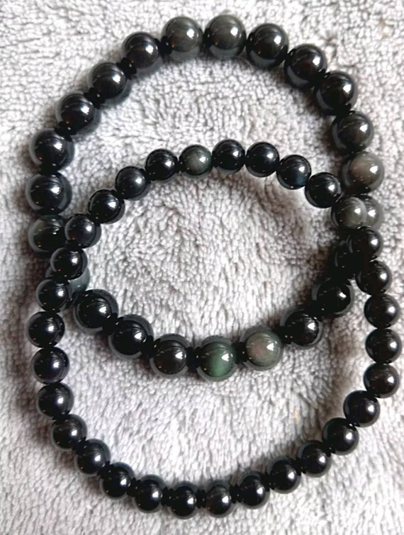 black obsidian crystal healing 6mm 8mm or 10mm bead bracelet