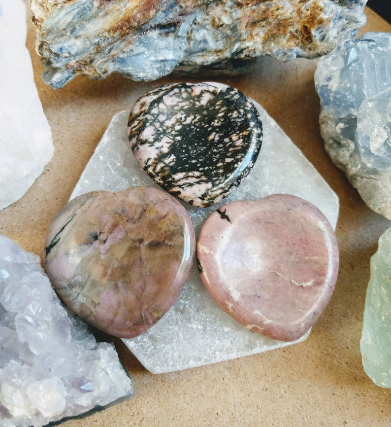 Rhodonite heart shaped worry stone crystal healing full of energy