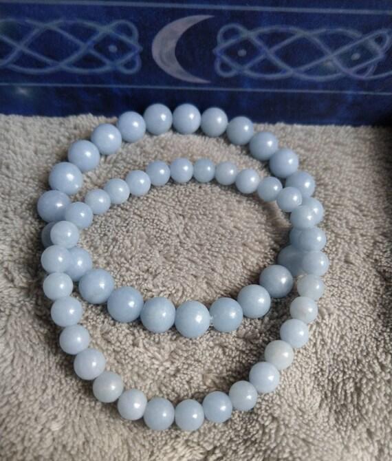Stretch Bracelet Beaded Bracelet One 6mm Angelite Round Beaded Bracelet Angelite Jewelry Angelite Bracelet