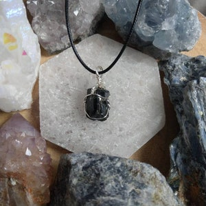 Shamanic Rare Nuummite Pendant Necklace Grounding Psychic Protection From Greenland Silver Necklace Unisex Crystal Healing  #893