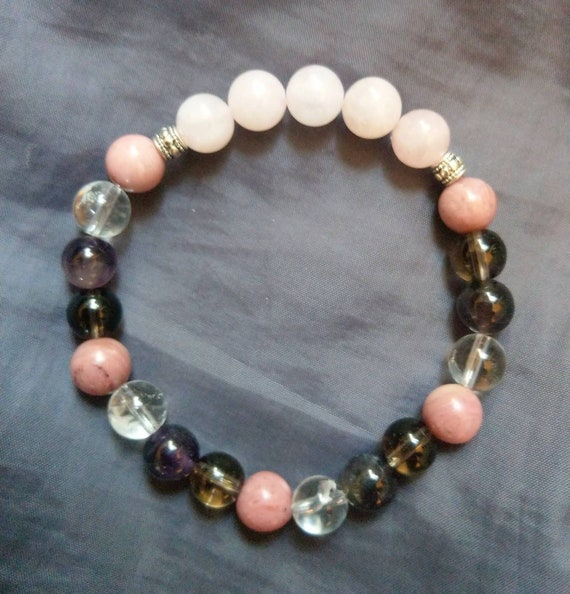 Breast Cancer Crystal Healing  Bracelet Crystal Healing Spiritual Support Smoky, Clear And Rose Quartz , Amethyst And Rhodochrosite by Etsy