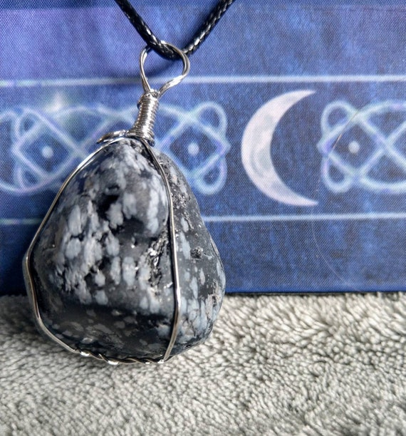 Snowflake Obsidian Crystal Necklace Wire Wrapped Stone Necklace Wire Wrapped Obsidian