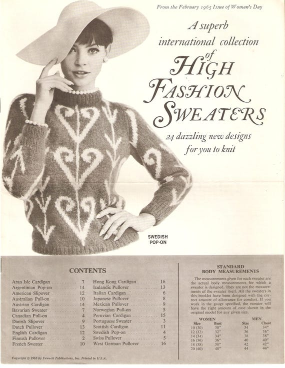 VINTAGE Knitting Patterns High Fashion Sweaters 24 Designs   Etsy