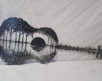 CNC CUT- Sunset Guitar Metal Artwork