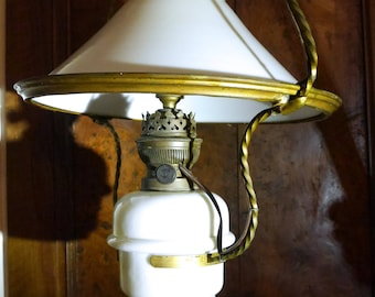 Antique French Hanging Oil Lamp from the 1800's Converted to Electric
