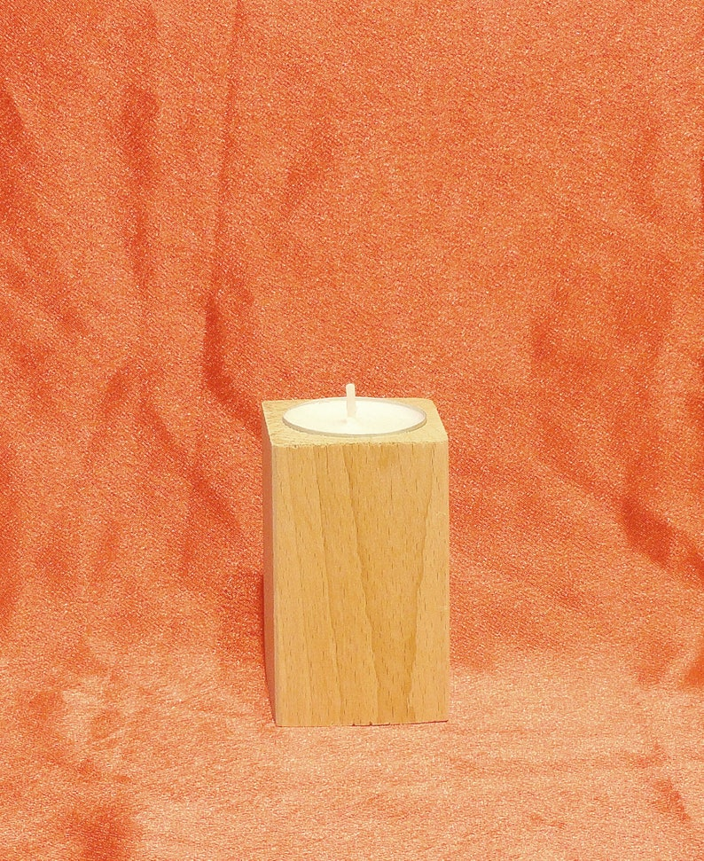Wooden 8 cm high Tealight Holder,candle holder Home Decor decoupage solid beech wood