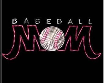 Baseball Basketball Football Cheer Softball Volleyball or Soccer Mom Neon Rhinestud Bling Iron-On Rhinestone Stud Transfer