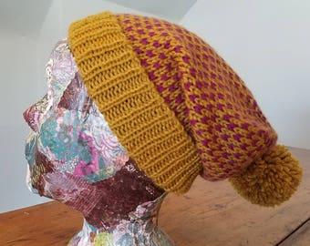 Fair Isle Slouchy Cap // Mustard Yellow and Magenta Purple