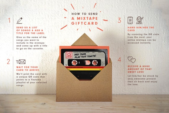 Custom Playlist Mixtape Gift Card, Anniversary, Interactive Gift for Him,  for Her, Personalised QR Code Mixtape, Music Gift, for Husband