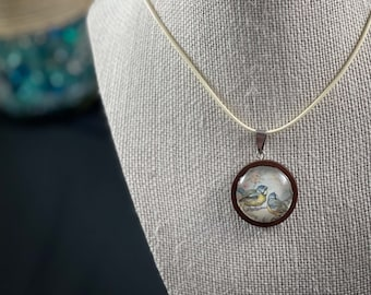 Glass Cabochon Necklace - Bird / Floral