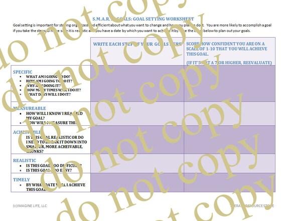 Goal Setting Printable Page, SMART Goals Worksheet