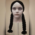 Child Size - Wednesday Addams inspired crochet Hair Hat Wig