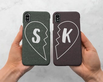 657997c4ad Matching Couple Personalized Text Initial Gift For Girlfriend Boyfreind  Heart Protective One Hard Case Cover For iPhone X /XS Max |C100
