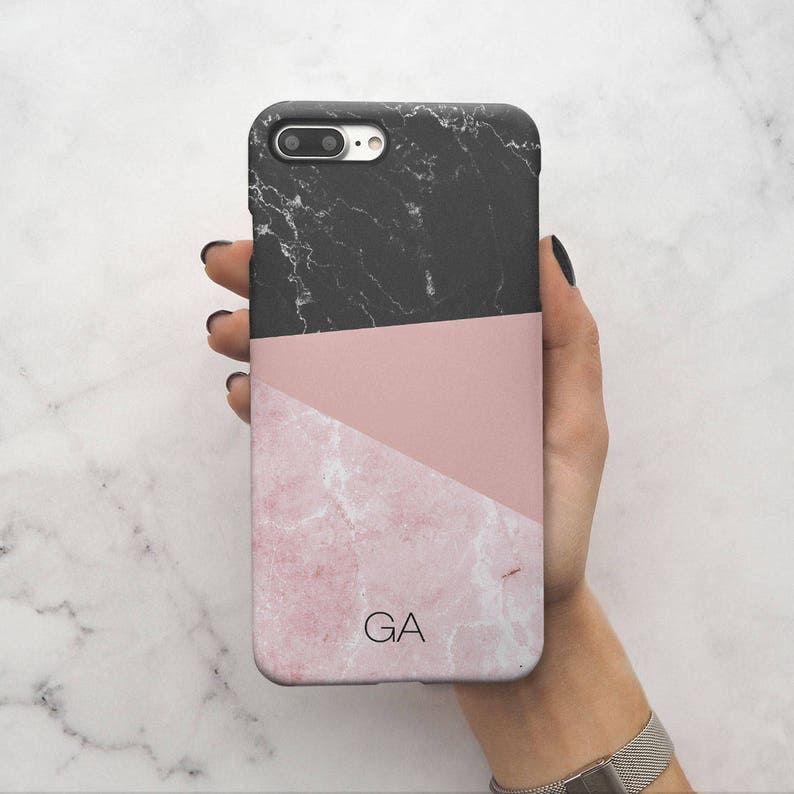 2074a7e0e0ed2 Personalized Initial Pink Marble Custom Letter Name Text Protective Hard  Case Cover For iPhone X iPhone XS Max & Samsung | C31