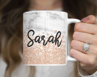 Customizable Personal Custom Personalized Letters Or Name  Rose Gold Sparkle Print Heat Resistant White Ceramic 11 oz Coffee Tea Mug | C290