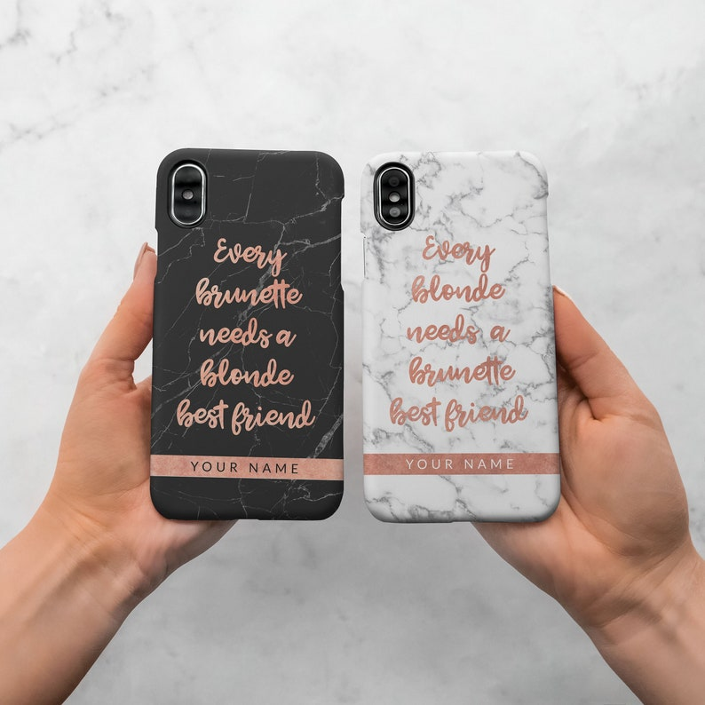buy popular ce21f b1bc1 Personalised Custom Text Name Every Blonde Needs Brunette Best Friend  Protective One Hard Case Cover For iPhone X iPhone XS Max Samsung |C2
