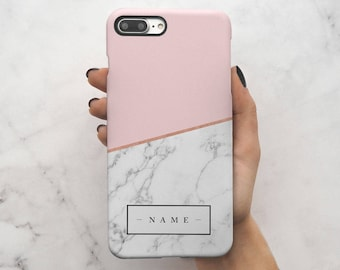 Personalized Custom Initial Name Pink Marble Create Your Own Customized Protective Hard Case Cover For iPhone 7 iPhone 8 & Samsung | C35