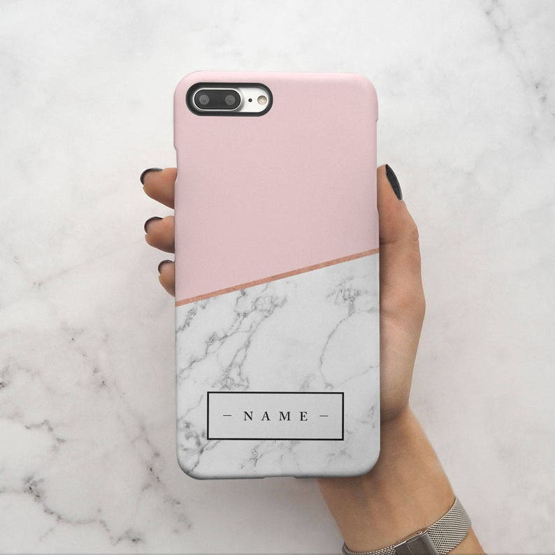 new style 6de19 a406f Personalized Custom Initial Name Pink Marble Create Your Own Customized  Protective Hard Case Cover For iPhone X iPhone XS Max & Samsung |C35
