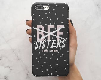 Personalised Customizable Text Best Friends Name Initials Black We Are Sisters Protective Hard Case Cover For iPhone 7 iPhone 8 | C94