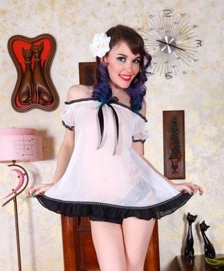 Chiffon Retro Sheer White Baby Doll with Black Trim