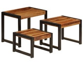 Industrial Nest of Tables Rustic Set of 3 Side End Tables Solid Wood Furniture Vintage Retro Metal Small Coffee Living Room Plant Lamp Stand