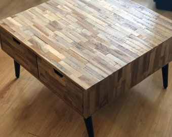P Industrial Coffee Table Reclaimed Teak Wood Vintage Side Accent End  4 Drawers Living Room Mid Century Modern Furniture Iron Leg