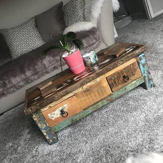Awesome Vintage Industrial Coffee Table With 2 Drawers Antique Style Furniture Solid Reclaimed Wood Rustic Living Room Table Wooden Retro End Side Creativecarmelina Interior Chair Design Creativecarmelinacom