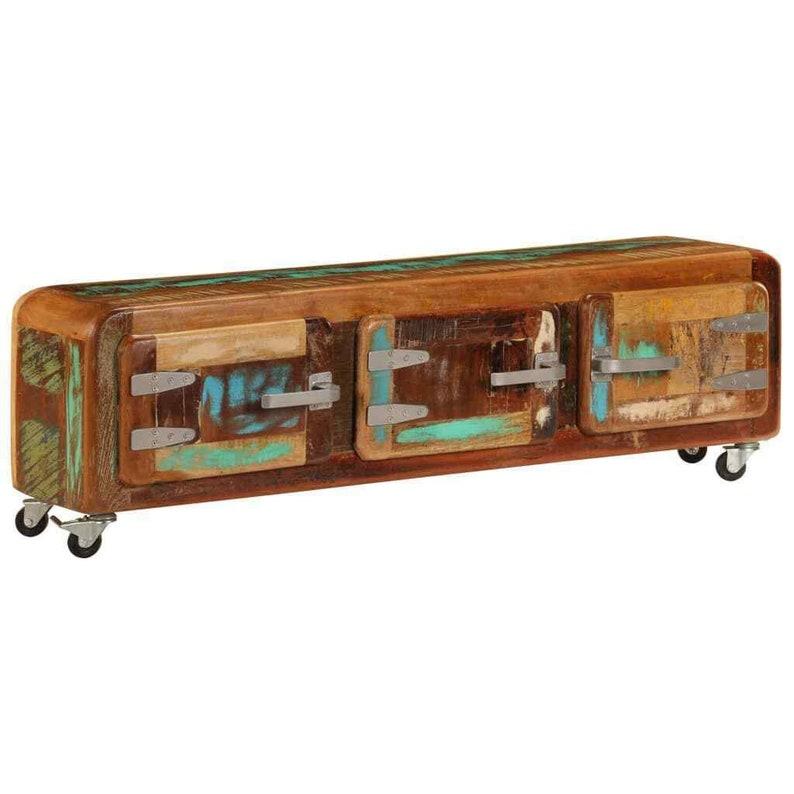 Industrial Reclaimed TV Stand Vintage Retro Cabinet Unit Rustic Solid Wood Furniture 4 Metal Wheels Media Storage Cupboard 3 Door Lowboard