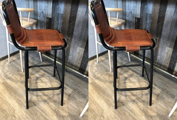 Brilliant Metal Bar Stool Vintage Industrial Chair Retro Genuine Goat Leather Seat High Breakfast Pub Set Of 2 Kitchen Counter Height Stools Forskolin Free Trial Chair Design Images Forskolin Free Trialorg