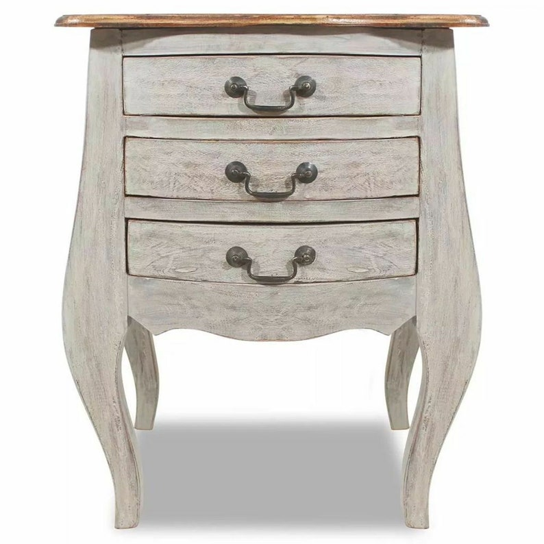 French Country Bedside Table With 3 Drawers Vintage Antique Style Bed Side Cabinet Shabby Chic Furniture Solid Reclaimed Wood Nightstand