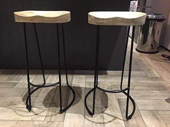 Stupendous Vintage Industrial Bar Stools Retro Style Chair Breakfast Wooden Seat Metal Pub Solid Mango Wood Top Rustic Home Kitchen Dining Shabby Chic Caraccident5 Cool Chair Designs And Ideas Caraccident5Info