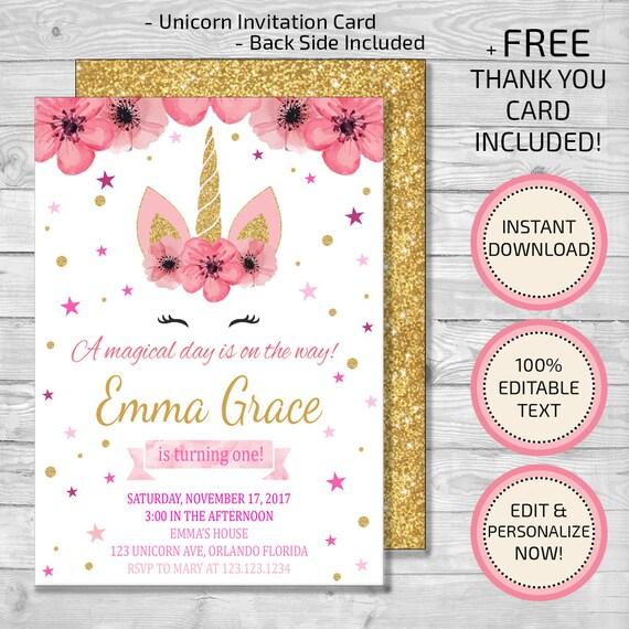 Unicorn Invitation Birthday Floral