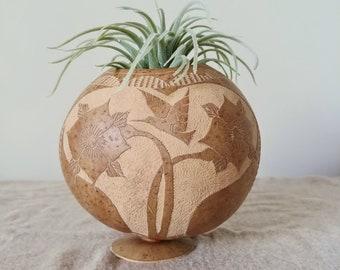 Carved Vintage Gourd | Floral and Hummingbird Gourd Art