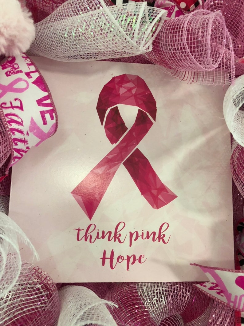 Think Pink Wreath Breast Cancer Awareness