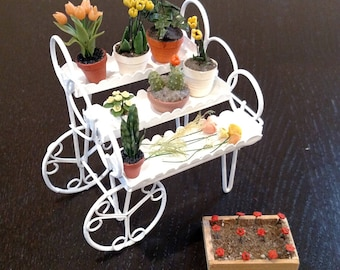 Dollhouse Flower Cart with flowers