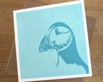 Light Blue Puffin Greeting Card / Notelet