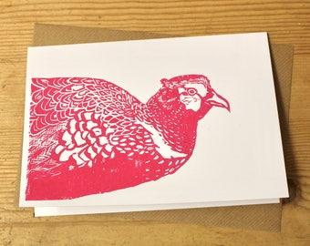 Pink Handmade Pheasant Greeting Card / Notecard