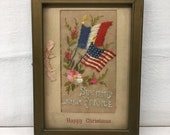 WWI Souvenir From France, Card Sent Home from Soldier, American Doughboy, Embroidered Silk Handkerchief, Antique Hankie, Ed Mutto, Ephemera