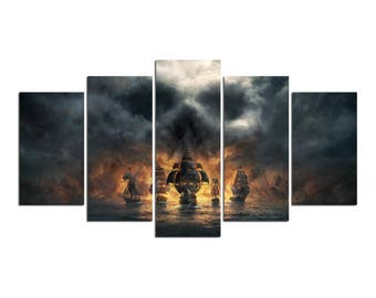 Pirates Of The Caribbean Jack Sparrow Canvas Print Gift 5 Panels