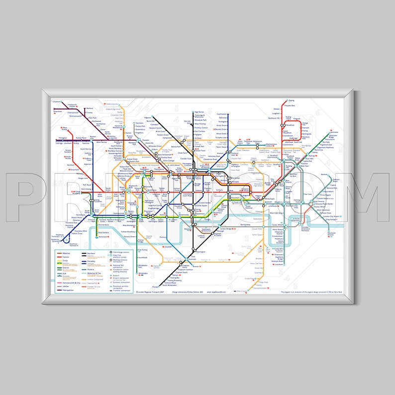 London Underground Metro Tube Subway Map Canvas Print Poster