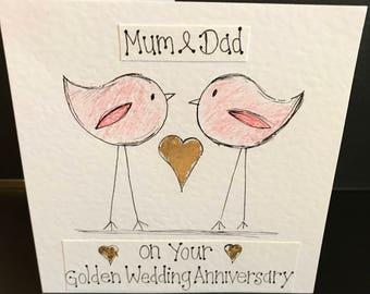 Mum and dad golden wedding anniversary card. Hand drawn. Handmade. Personalised