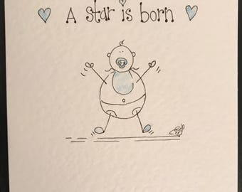 Hand drawn handmade baby boy card. Can be personalised