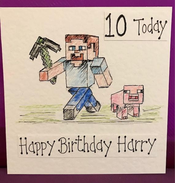 Personalised Mine Craft Birthday Card Hand Drawn Etsy