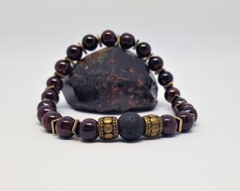 Garnet, Hematite and Lava Bracelet 6mm