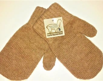 Alpaca US Mittens Size S M L Fawn or Brown NEAFP Made in USA