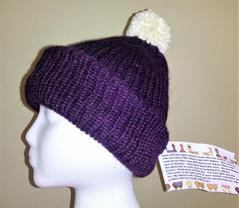 Alpaca Hat Ski Cap Stocking Cap Double Thick Handmade Deep  6b8bbc74f1c